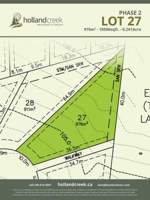 Holland Creek Development PHASE 2 Lotplan27